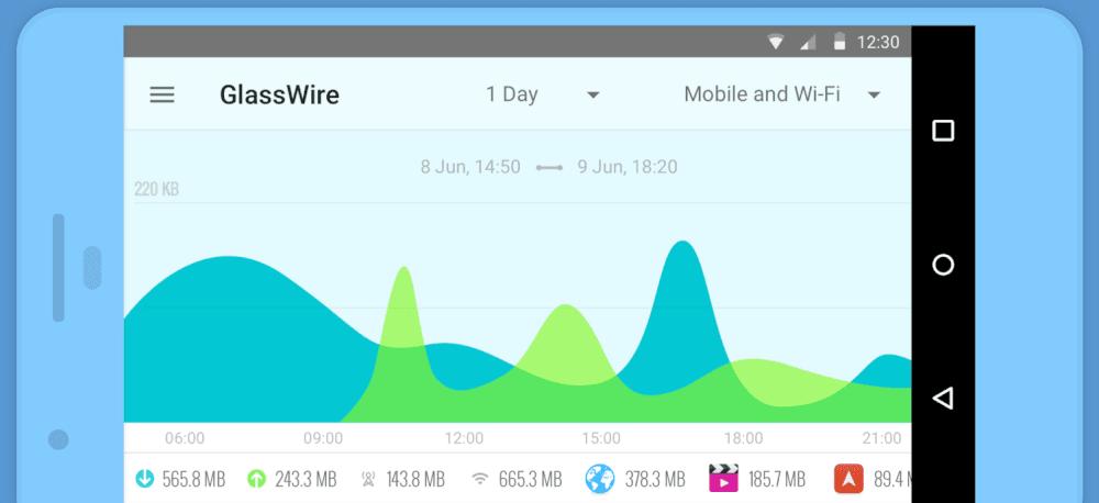 تحميل برنامج GlassWire لمعرفة استهلاك الانترنت للاندرويد