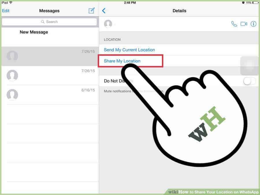 طريقة مشاركة الموقع بالواتس اب على نظام التشغيل iOS