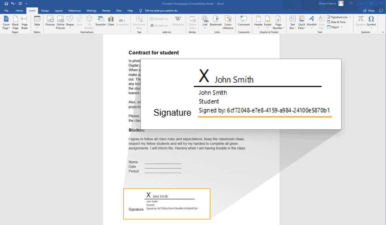 طريقة عمل توقيع إلكتروني على الوورد