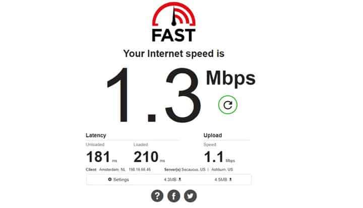 موقع لقياس سرعة النت Fast.com