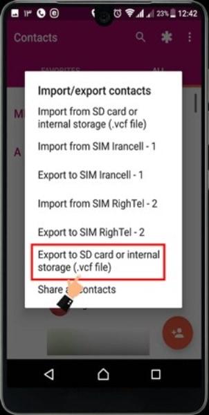كيفية نقل جهات الاتصال الهاتف إلى بطاقة SD
